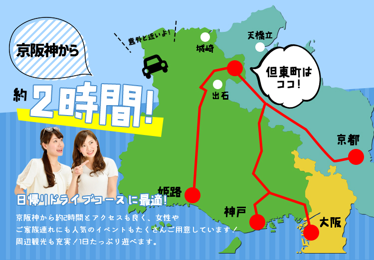 It takes about 2 hours from Kyoto-Osaka-Kobe area!